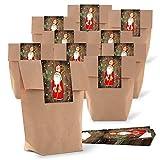25 kleine Papiertüten braun natur 16,5 x 26 x 6,6 cm + 25 Aufkleber HEILIGER NIKOLAUS SANTA rot weiß beschriftbar Weihnachten Geschenk...