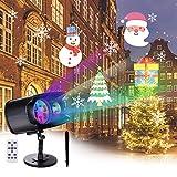 Osaloe LED Projektionslampe Weihnachten Halloween, 2 in1 Wasserdicht Licht Projektor mit 12 Veränderbare Muster 13 Bunte Welleneffekte des...