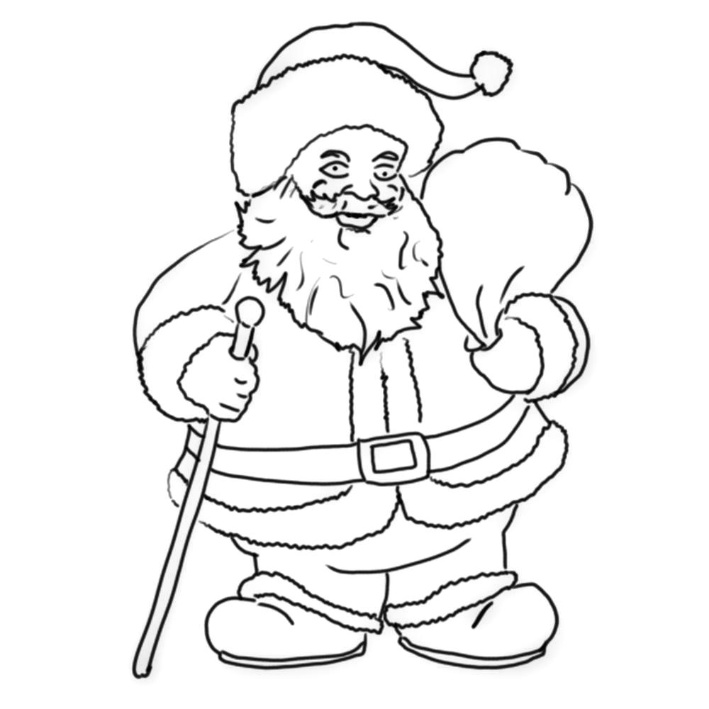 Ausmalbilder Weihnachtsmann - Nikolausabend